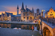canvas print picture - Ghent. Image of Ghent, Belgium during sunset.