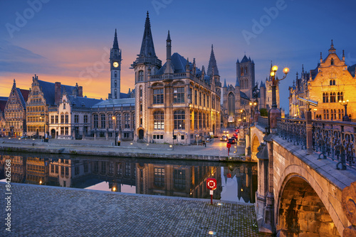 canvas print motiv - rudi1976 : Ghent. Image of Ghent, Belgium during sunset.