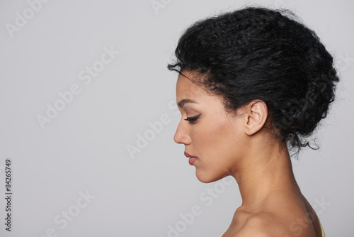 Beauty closeup profile portrait of beautiful woman Canvas-taulu