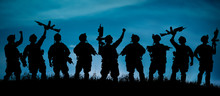 Silhouette Of Military Team Soldiers Or Officers With Weapons