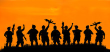 Silhouette Of Military Team So...