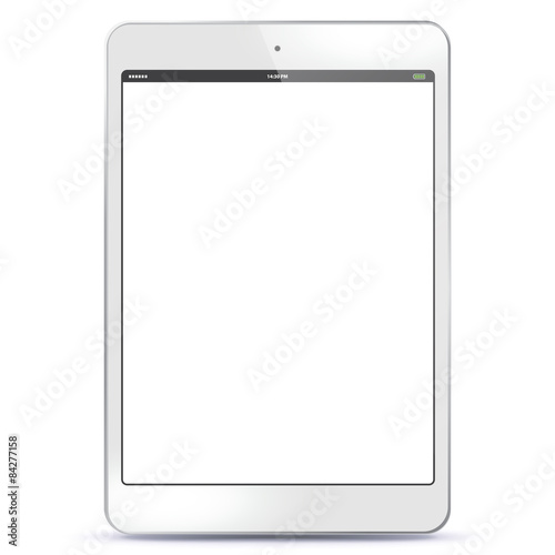 Fotografia  White Tablet PC Vector illustration with blank screen. EPS10.