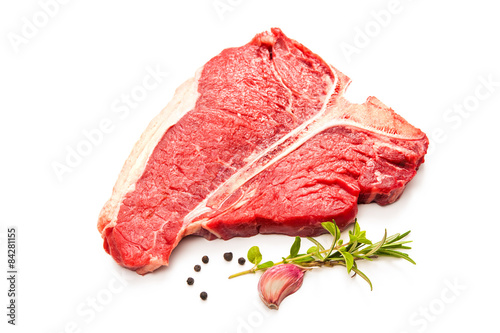 Staande foto Vlees Raw fresh meat T-bone steak