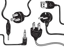 Set Of Plug In Socket In Doodl...