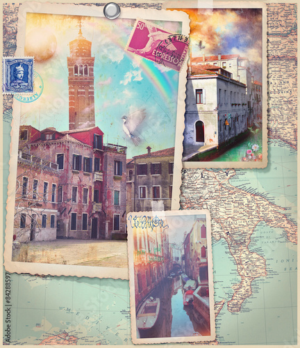 Wall Murals Imagination Vintage postcards and collage of Venice city