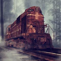 Fototapeta na wymiar Stary zardzewiały pociąg na torach w lesie
