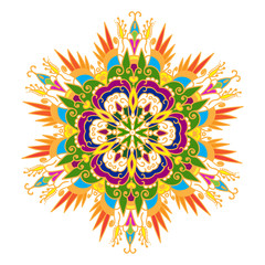 Hand-drawn colored mandala zentangl. Floral element