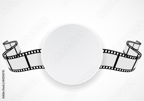 Fotografie, Tablou film reel strip round label banner