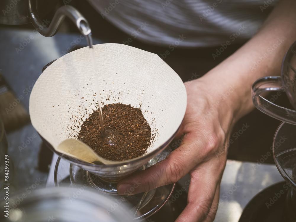Hand drip coffee Barista hand