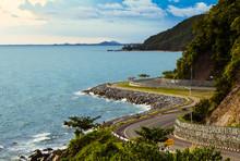 Coastal Road Sea In  Chanthaburi, Thailand
