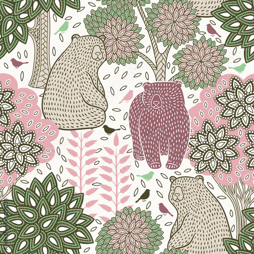 Cotton fabric Autumn forest seamless pattern