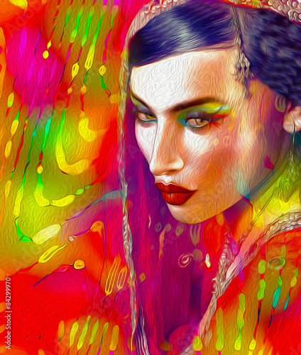 Abstract Digital Art Of Indian Or Asian Woman S Face Close Up With Colorful Veil Buy This Stock Photo And Explore Similar Images At Adobe Stock Adobe Stock