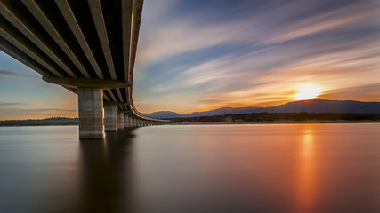 Sunset on the bridge. Madrid. Spain