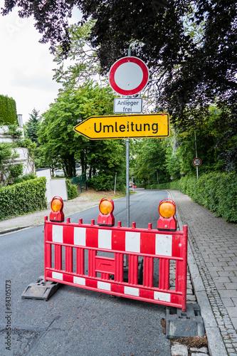 Fotografie, Obraz  Baustelle Umleitung