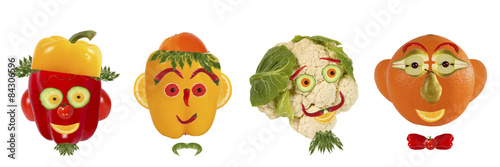 Deurstickers Verse groenten Creative set of food concept. A few funny portraits from vegeta