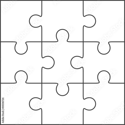 Jigsaw puzzle blank template 3x3 - Buy this stock vector and explore ...