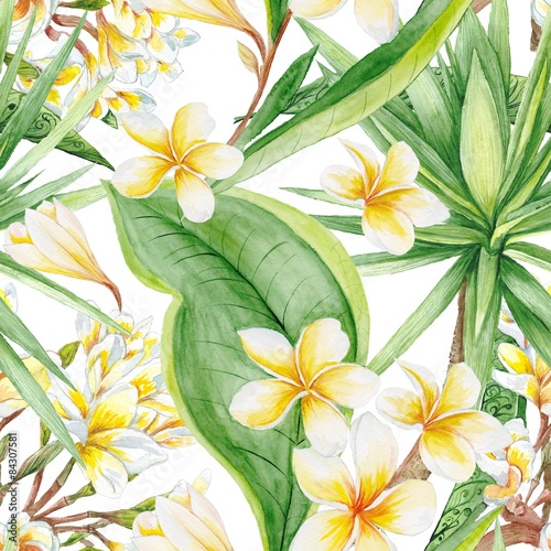 Cotton fabric Exotic Plants Pattern