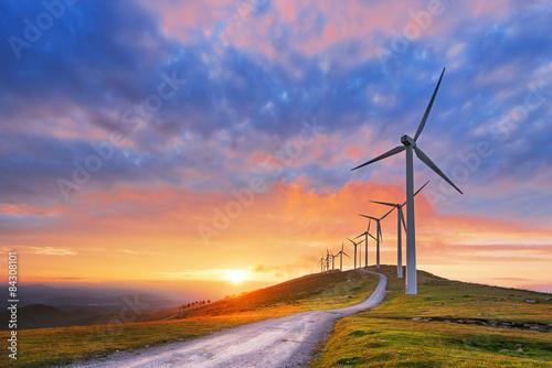 Fototapeta wind turbines in Oiz eolic park obraz