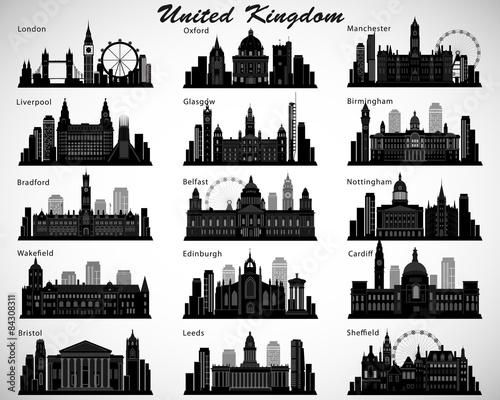 Fotomural Britain's cities skylines set. Vector silhouettes. UK