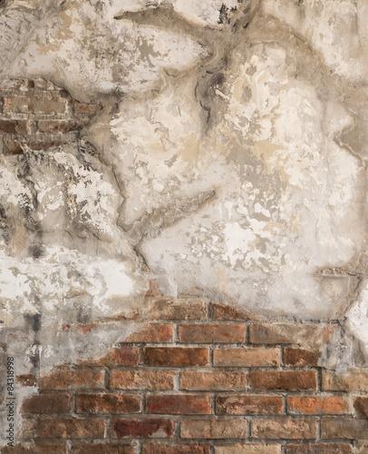 Foto auf AluDibond Alte schmutzig texturierte wand aged cracked concrete and brick wall background