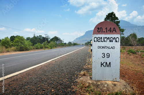 Foto  Milestone go to  Dontalad at Pakse in Champasak, Laos