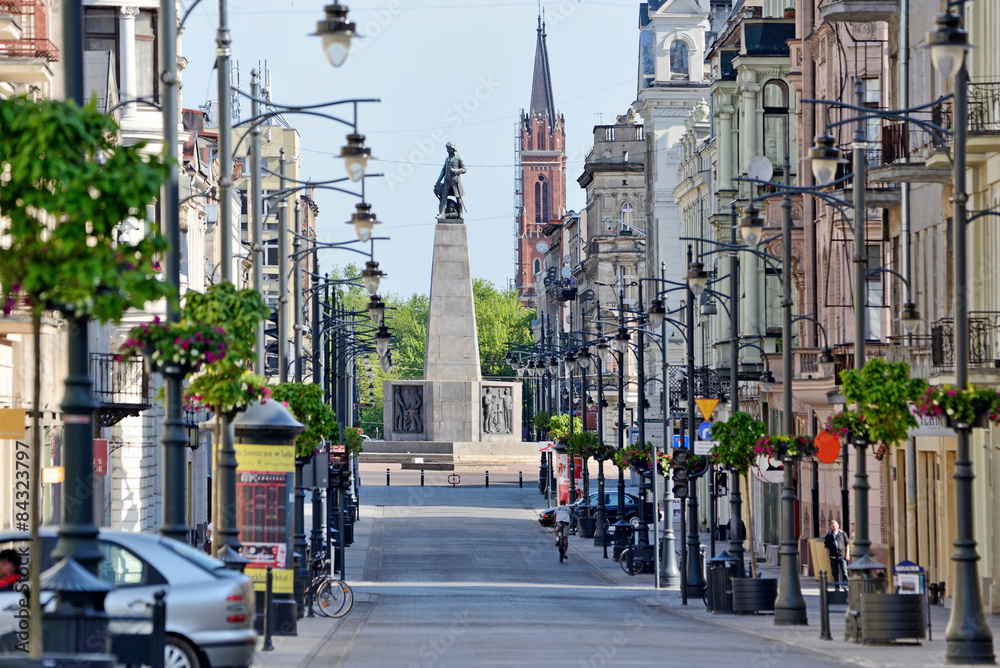 Fototapeta Ulica Piotrkowska- miasto Łódź.
