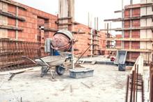 Cement Mixer Machine At Construction Site, Tools, Wheelbarrow