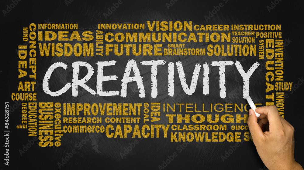Fototapety, obrazy: creativity with related word cloud handwritten on blackboard