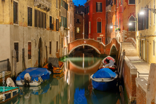 Recess Fitting Channel Night lateral canal and bridge in Venice, Italy