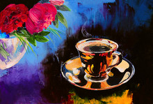 Oil Painting - Cup Of Coffee O...