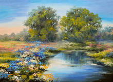 Oil Painting Landscape - River In The Forest, Colorful Fields Of Flowers