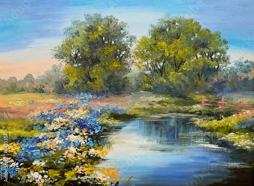 Fototapeta Oil painting landscape - river in the forest, colorful fields of flowers