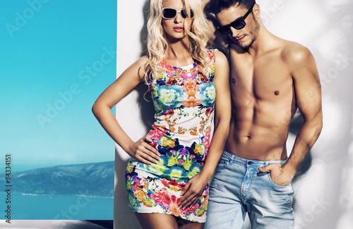 Printed kitchen splashbacks Artist KB Happy fashionable couple on sunny vacation day