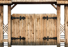 Ancient Wooden Gate Isolated O...
