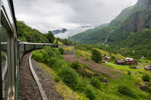 Train at famous Flam railway  in Norway