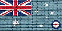Flag Of Royal Australian Air Force Painted On Brick Wall