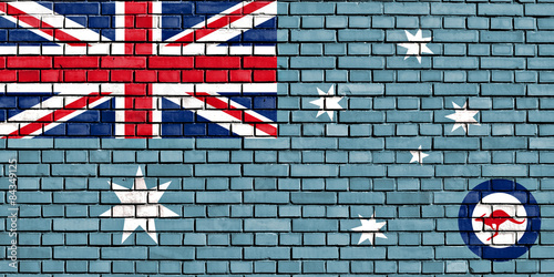 Fotografia Flaga Royal Australian Air Force malowane na mur z cegły