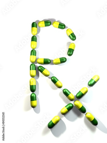 "Fotografia  Rx: ""medical prescription"", yellow-green-coloured capsules."