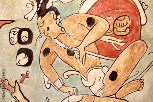 Aluminium Prints Ruins Mayan Paintings at Uxmal, Yucatan