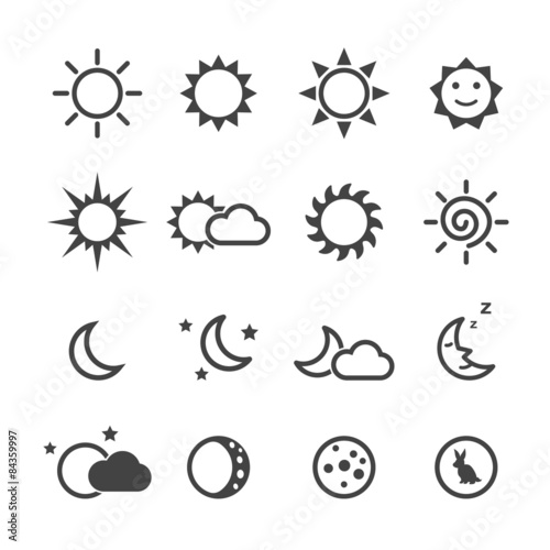 Fototapeta sun and moon icons
