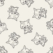 cat doodle seamless pattern background