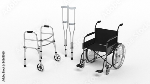 Black disability wheelchair crutch and metallic walker isolated Canvas Print