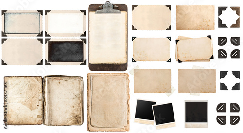Old paper sheets, book, vintage photo frames and corners, antiqu Fotobehang