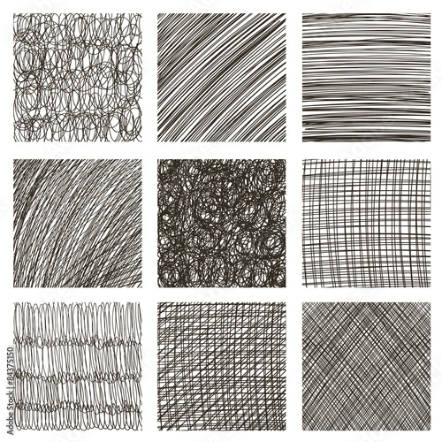Valokuva  Vector set of hand drawn squares. Sketch, set of textures.