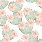 Bezszwowy akwarela wzór kwitnący kaktus jako serce - 84387379