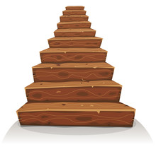 Cartoon Wood Stairs For Castle Or Old House Construction