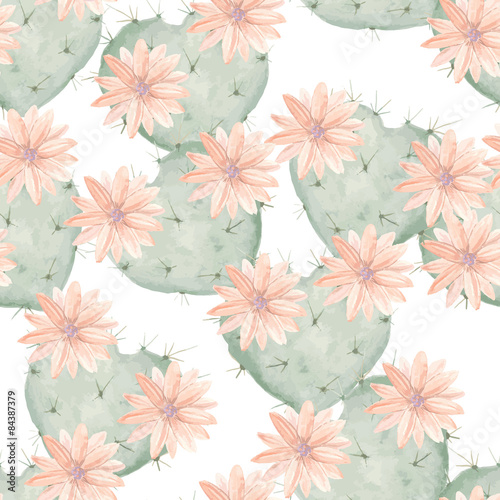 Cotton fabric Seamless watercolor pattern of flowering cactus as heart