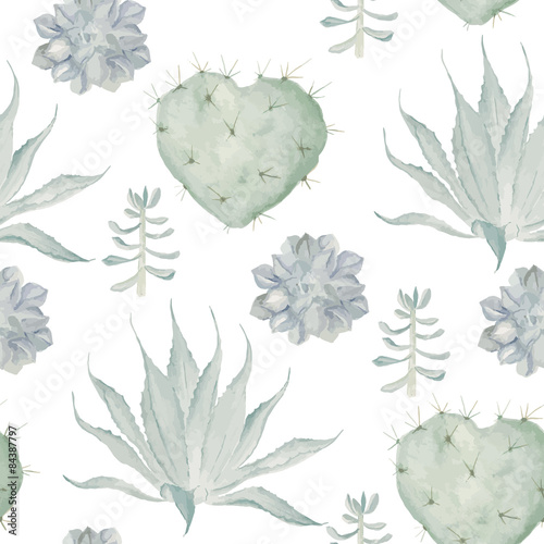 Watercolor cactus print. Seamless pattern
