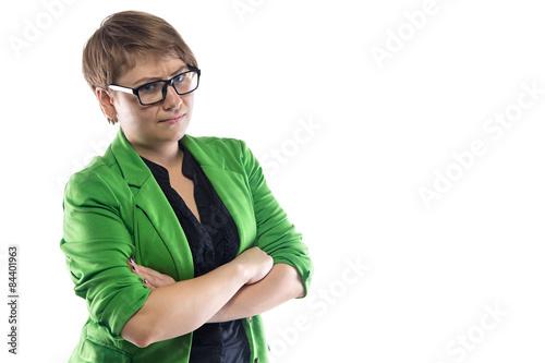 Obraz na płótnie Photo of confused woman in green jacket