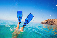 Flippers In Water. Diver Fins. Active Vacation At Sea. Diving.